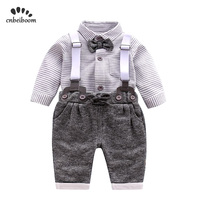 Newborn baby clothes sets children gentleman clothing suits infant boys grey striped shirt+overalls 2019 fashion baby boy dress