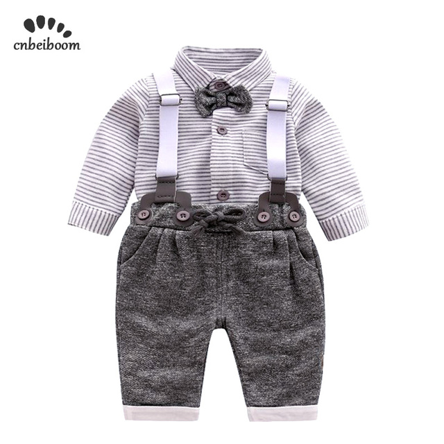 56e3cf36945e Newborn baby clothes sets children gentleman clothing suits infant boys  grey striped shirt+overalls 2019 fashion baby boy dress