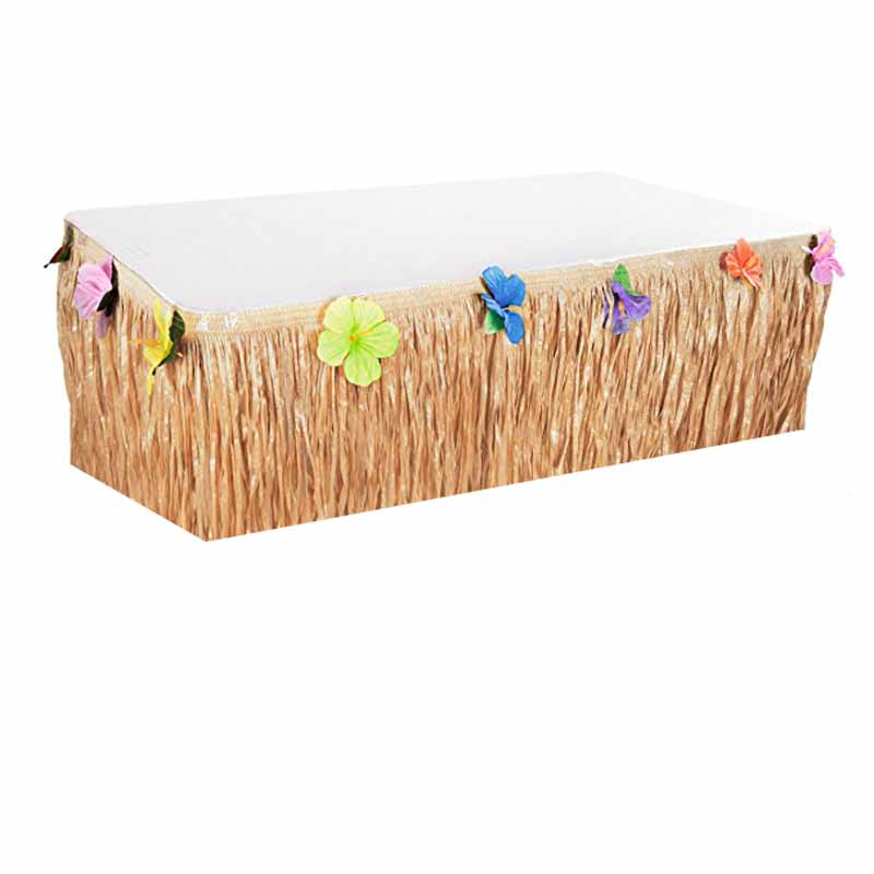 Tropical Flower Grass Table Skirt for summer Hawaiian luau party kid birthday beach country wedding baby shower patio decoration