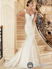 Free Shipping 2015 Hot Image Mermaid V Neck Straps Sweep Train Sexy Open Back Wedding Bridal