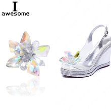 цены 1pcs Crystal design Flower Bridal Wedding Party Shoes Accessories High Heels Shoes DIY Manual Rhinestone Shoe Decorations