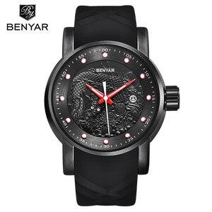 Image 2 - Chinese Dragon Calendar BENYAR Luxury Brand Watches Men Waterproof Silicone Strap Fashion Quartz simple Watch Relogio Masculino