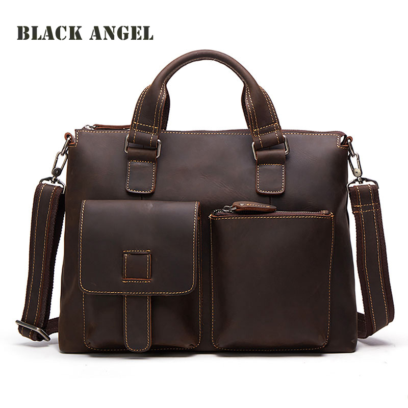 BLACK ANGEL Cow Genuine Leather Men bags Crazy Horse Leather Handbags Men messenger bag Shoulder Briefcase retro crazy horse cow genuine leather bags 16 inch men s shoulder bag for men briefcase real leather handbags laptop bags