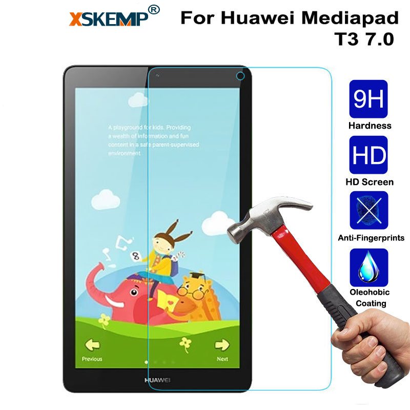 XSKEMP Anti-Scratch 9H Hardness Tempered Glass For Huawei Mediapad T3 7.0 0.3mm Ultra Thin Clear Tablet PC Screen Protector Film nuglas 9h super hardness ultra slim 0 3mm design tempered glass screen film for samsung galaxy note4 n9100