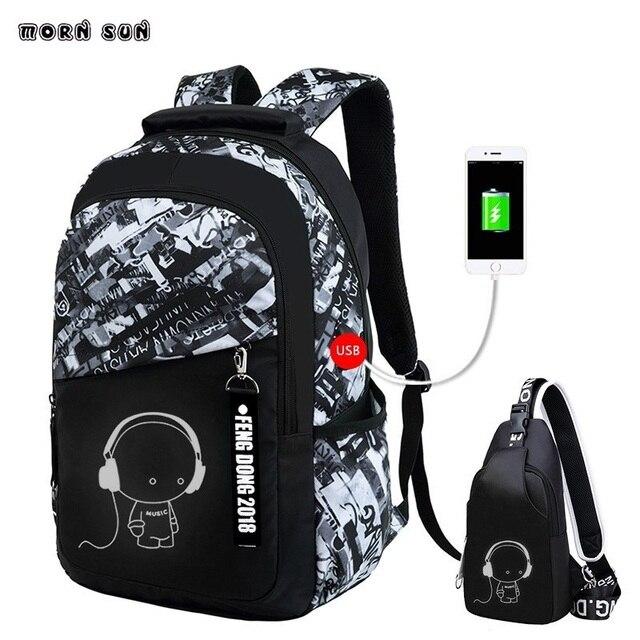 boys black Luminous backpack letters large school bags for teenagers high  school backpack 15.6 laptop waterproof 01d7fe8afea6