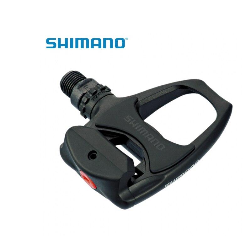 купить  Shimano PD-R540 SPD-SL Road Bike Pedals Clipless SM-SH11 cleats Black/White/Silver  недорого