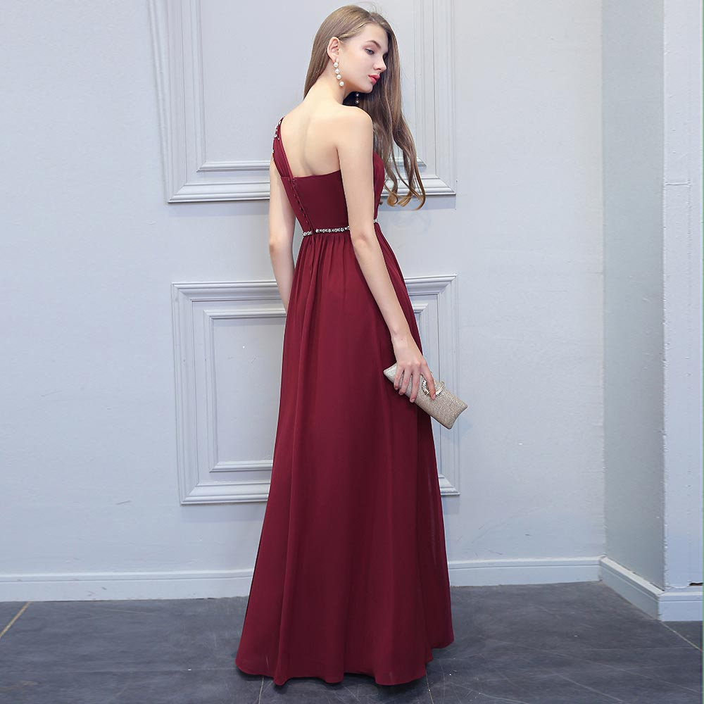 c733aab6f4 BeryLove Simple Burgundy Prom Dresses 2019 Long Beaded One Shoulder Evening  Dresses Special Occasion Dress Prom Lady Party Gowns-in Evening Dresses  from ...