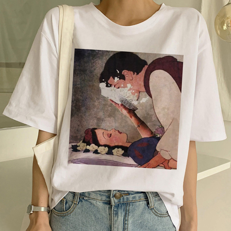 New Dark Snow White Harajuku 90s T Shirt Woman <font><b>Aesthetic</b></font> Short Sleeve <font><b>Graphic</b></font> <font><b>Tshirt</b></font> Funny Print T-shirt Ullzang Top Tees Female image