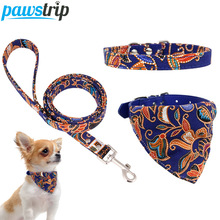 XS-L Pet Leather Dog Collar Chihuahua Yorkie Bandana Scarf Cat Collars Leash For Small Dogs/Cats