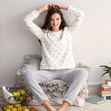 Women Flannel Pajama Sets Velvet Long Sleeve Warm Sleepwear Set Winter Female Soft Clothing Pajamas Suits