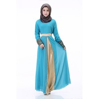 618 New 2017 Women Muslim Cuff Lace Embroidered Long Dress Abaya Islamic Chiffon Maxi Dress