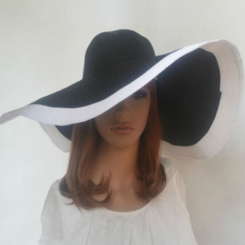 Aliexpress.com   Buy Hot 2017 fashion women Beach hats for women summer  straw hat beach cap sun hats Sexy ladies Black and white large brim hat  from ... c4638454759