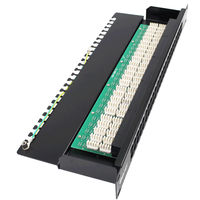 BELNET 1U 19'' inch 50 Ports RJ11 Telephone Patch Panel Cat3 Rackmount Data Voice Phone Krone Patch Panel with Cable Management