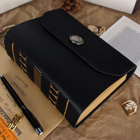 2014 Handmade Vintage Cowhide Leather Note Book Sewn Buckle Notepad Gift Tsmip Travel Diary Doodle Thick
