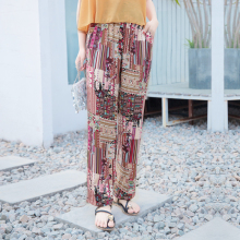 4e0156be07 New Summer Women Printing Beach Long Pants Loose Women Boho Elastic High  Waist Causual Silk Brocade