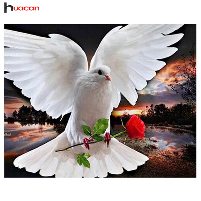 Aliexpress com : Buy HUACAN Diamond Painting White Pigeon Cross Stitch Rose  Floral Needlework Full Square Drill Picture Rhinestones Wall Decor from