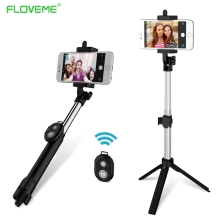 FLOVEME Dobrável Mini Vara Selfie Auto Bluetooth Selfie Vara + Tripé + Bluetooth Do Obturador Controle Remoto para iPhone Android