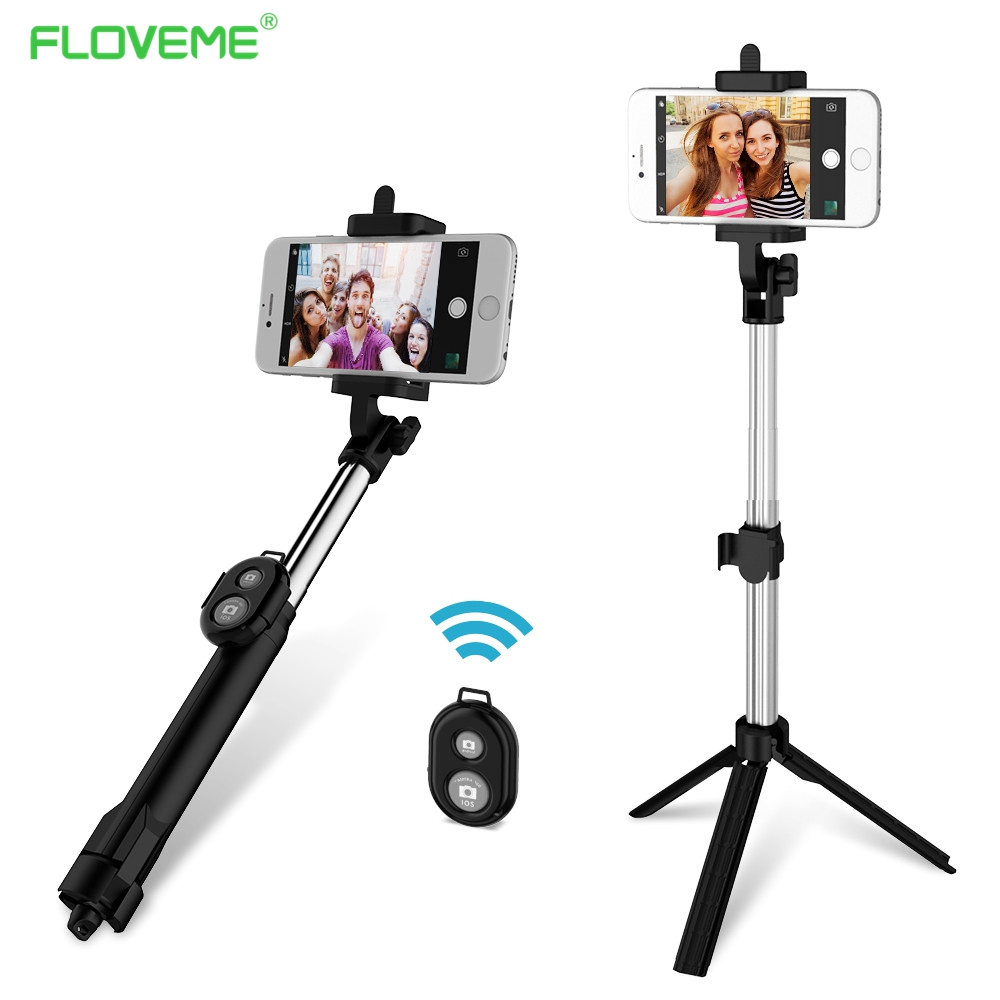 FLOVEME Foldable Mini Selfie Stick Self Bluetooth Selfie Stick+Tripod+Bluetooth Shutter Remote Controller for iPhone Android sc1 carbon fiber smartphone tripod handheld mini phone action camera gopro selfie stick wireless bluetooth remote shutter