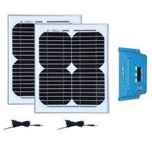 Panneaux Solaire 36v 20W Solar Panel 12v 10W 2 Pcs 24v Battrie Controller 12v/24v 10A Dual Usb Phone Camping Car