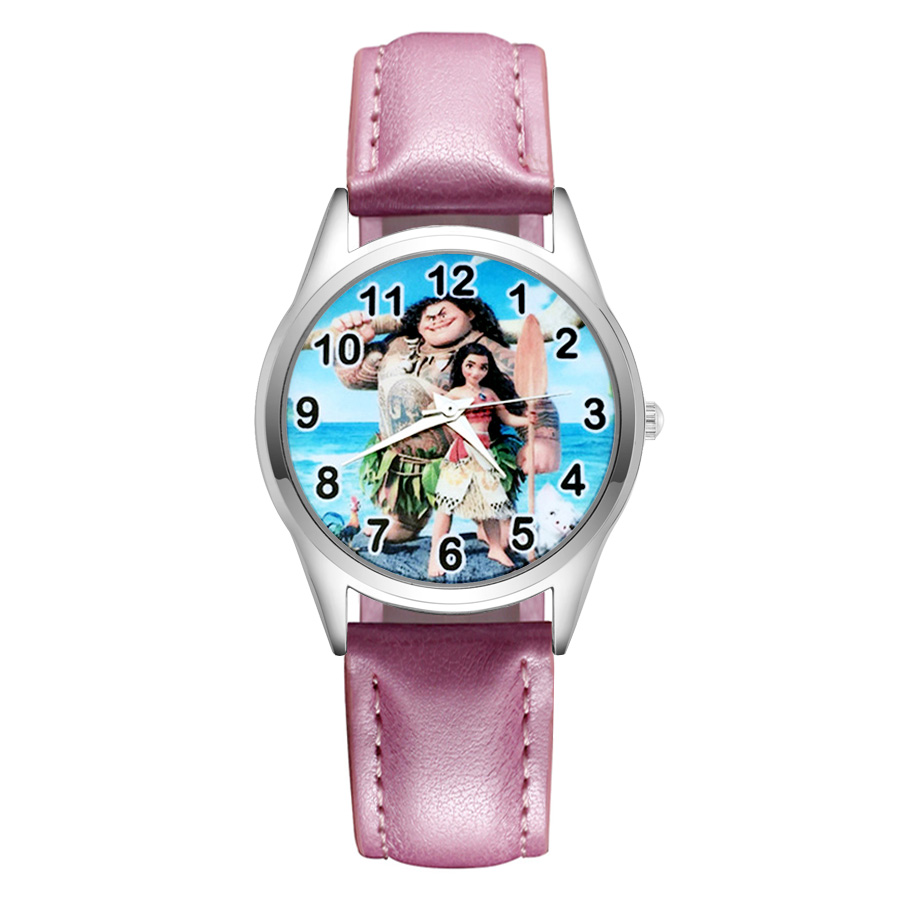 Genteel Cartoon Cute Moana Style Childrens Watches Kids Students Girls Quartz Leather Strap Wrist Watch Jc41 Vivid And Great In Style Watches
