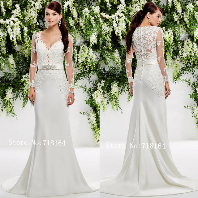 6ce7bf9389d Vintage modest lace and satin muslim wedding dress with long sleeve country style  romantic sheath style bridal gown plus size