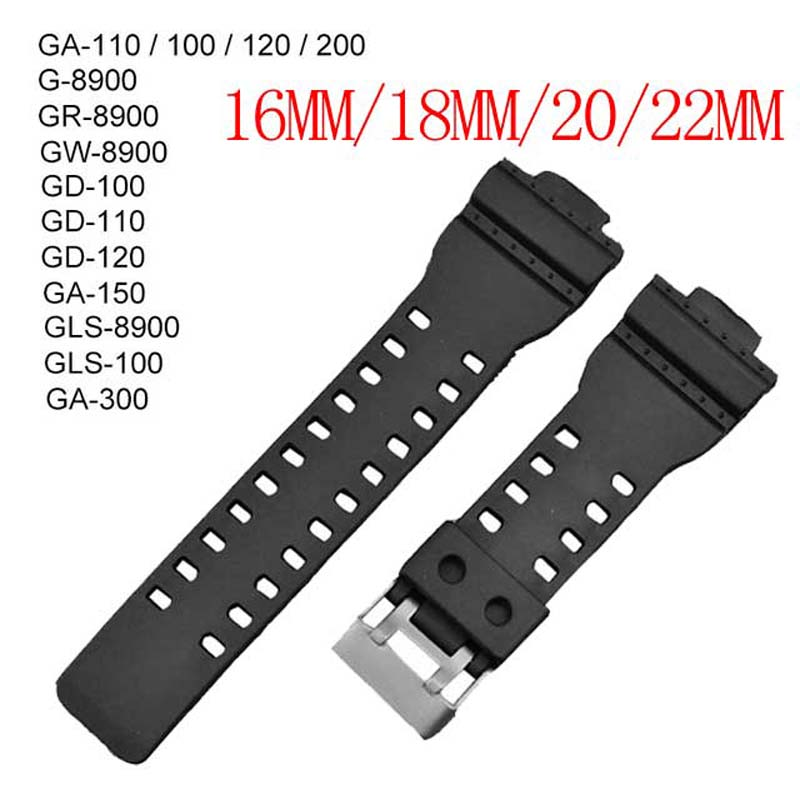 16 18 20 22 mm Watchband Silicone Rubber Band For Casio Watch strap GA-100/110/200 Replace Electronic Wristwatch Sports Band