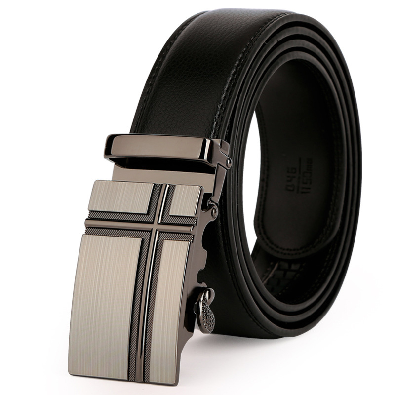 fashion Men's leather   belt   130CM lengthened automatic buckle leather   belts   men's Leather Trousers   Belt   Gift   Belts   For Men