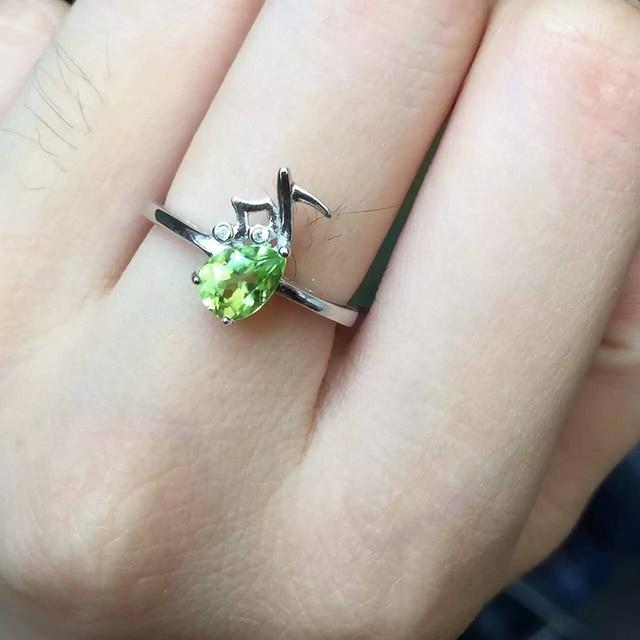 Linda nota musical anillo para la muchacha corte gota 100% natural anillo de piedras preciosas peridot olivino esterlina del sólido 925 de plata anillo para mujer
