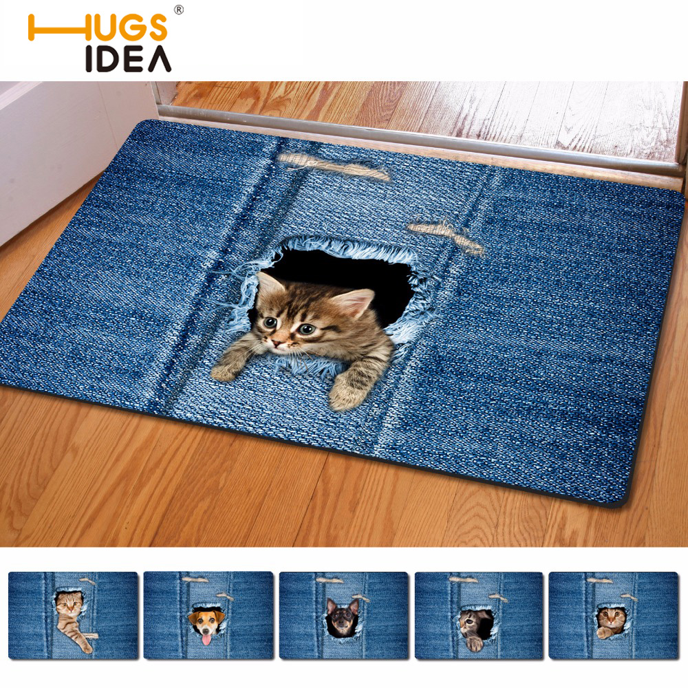 HUGSIDEA Kawaii 3D Denim Cat Dog Carpet Tappeti antiscivolo per cucina Tapetes Tappeti Para Casa Sala per soggiorno Alfombras Tapis Salon