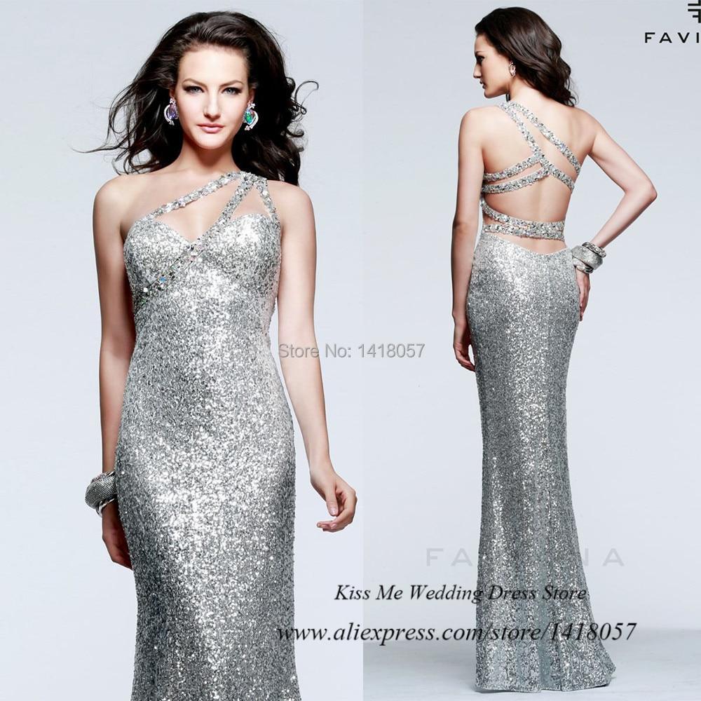 Popular One Shoulder Silver Sequin Dress-Buy Cheap One Shoulder ...