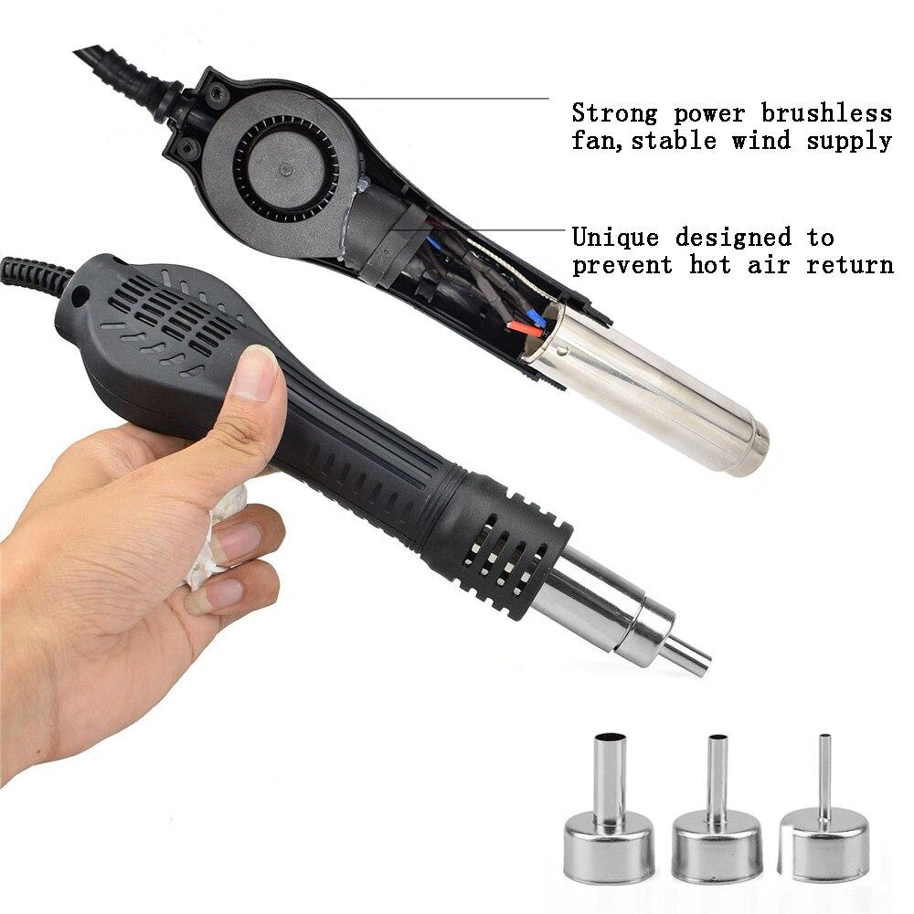 Tools : NEWACALOX 858D 700W EU US 100-500 Degree Hot Air Rework Station Thermoregul LED Heat Gun Blow Dryer for BGA IC Desoldering Tool