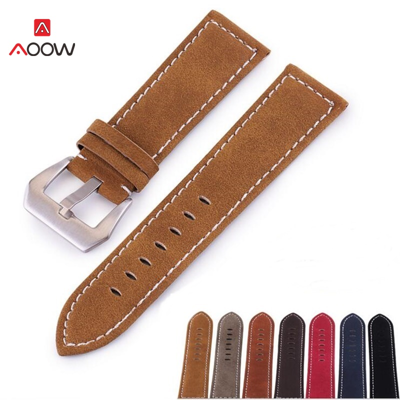 AOOW Handmade Matte Leather Watch Band For Men Women Stainless Steel Buckle Strap For Watchband 18mm 20mm 22mm 24mm