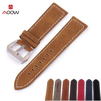 AOOW Handmade Matte Leather Watch Band for Men Women Stainless Steel Buckle Strap for Watchband 18mm 20mm 22mm 24mm handmade leather comfort gray suede strap 18mm 20mm 22mm stainless steel buckle high quality red blue line 2018 new