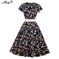 Floral Print Retro Dresses Women Summer Rockabilly Vestido Festa Plus Size 4XL Hepburn 50s 60s Big