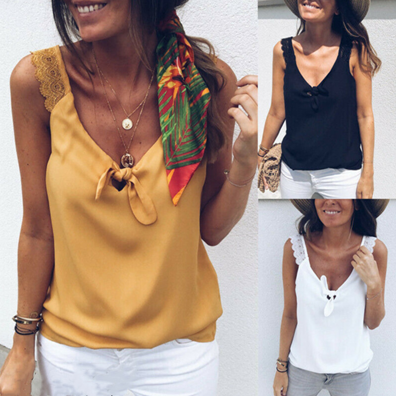 Shirt Tank-Tops Camis Spring Outer-Wear Summer New Hook Trend V-Neck Solid Slim Lace