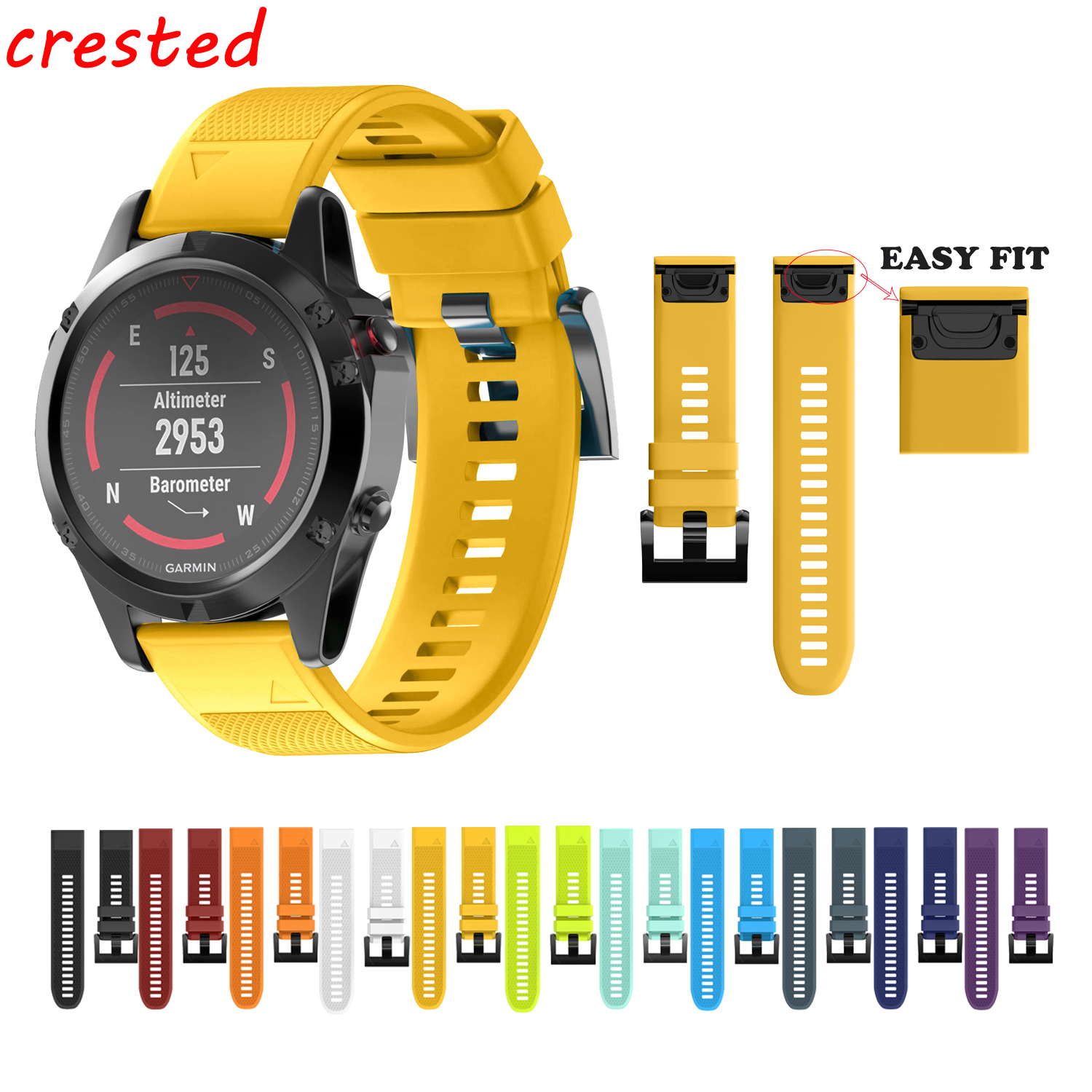 CRESTED silicone watch strap for Garmin Fenix 5 band GPS Watches Replacement band Silicagel Wrist Band Bracelet 22mm width nylon strap for garmin fenix 5 band outdoor sport watchband with quick fit for garmin fenix 5 replace wrist band