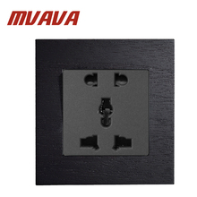 MVAVA 13A 5 Pin Multifunction Socket Luxury Black Artificial Wood Panel Wall Light Switch AC110~250V 86*90MM