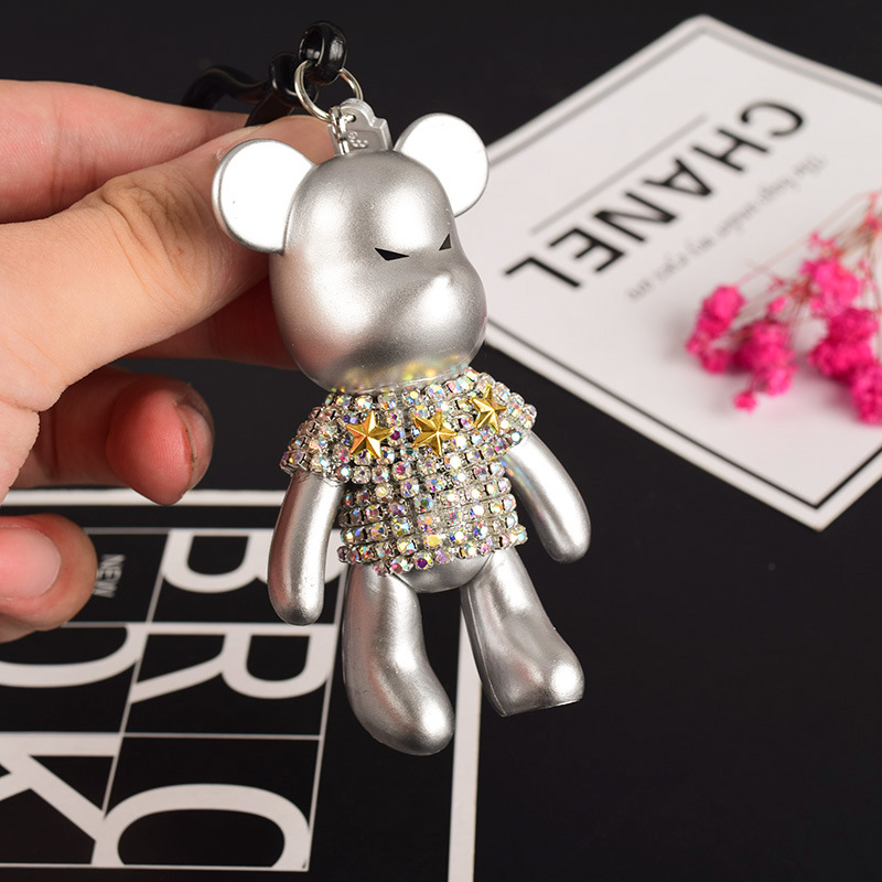 Fashion Handmade DIY Craft Rhinestone Cartoon Bomgom Bear Keychain Leather Rope Tassel Key Chain Gloomy Bag Charm Pendant Gift