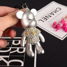 Fashion Handmade DIY Craft Rhinestone Cartoon Bomgom Bear Keychain Leather Rope Tassel Key Chain Gloomy Bag Charm Pendant Gift