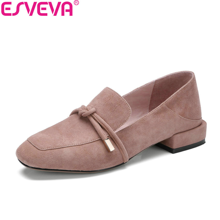 ESVEVA 2018 Women Pumps Sweet Style Shoes Square Low Heels Kid Suede PU Square Toe Butterfly-knot Elegant Women Shoes Size 34-42 esveva 2018 women pumps elegant butterfly knot pointed toe square high heels pumps suede slip on pumps women shoes size 34 39