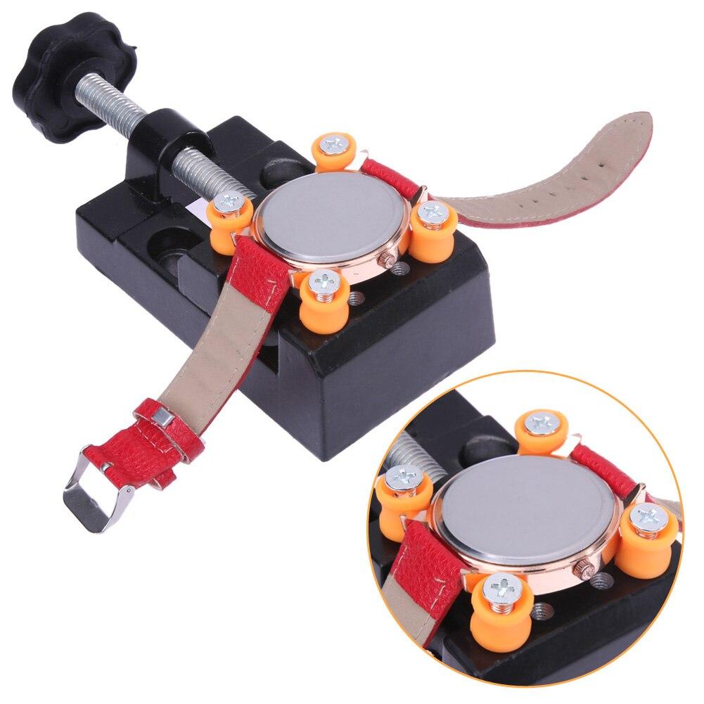 Herramienta de reloj de marca banco de mesa de aleación de aluminio ajustable ferramentas para relojoiro herramienta de reparación de relojes