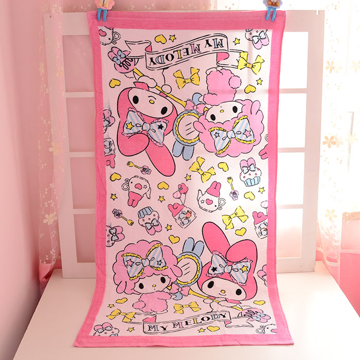 Cute My Melody Rabbit Towels Beach Baby Boys Girls Printed Handkerchief Cotton Towels 60*120cm Big Nursing Toweling Bathroom