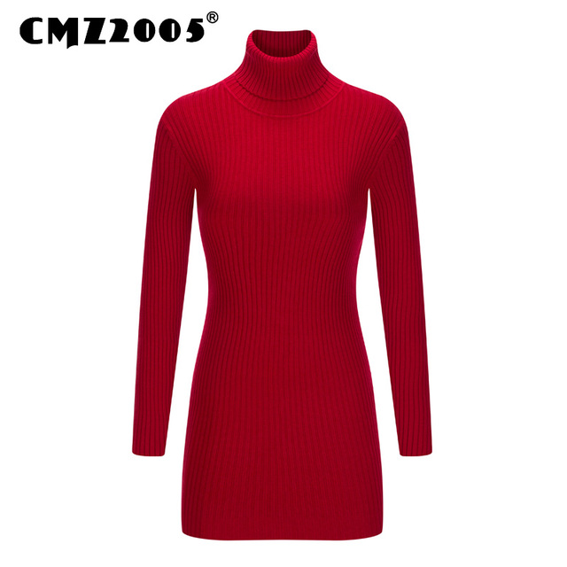 New Style Women's Apparel Long Sleeve turtleneck sweater Knitted Winter women sweaters and pullovers sweater dress  50915