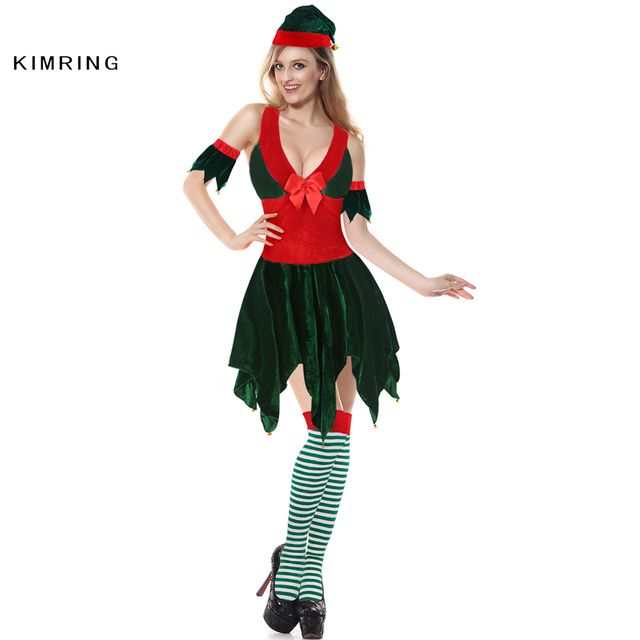 Kimring Sexy Women Christmas Elf Costumes Santa Claus Sleeve Green and Red Girl Elf Dress Christmas  sc 1 st  AliExpress.com & Kimring Sexy Women Christmas Elf Costumes Santa Claus Sleeve Green ...