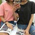 Новый harajuku корейский 2017 футболка femme рубашка с плеча топ лето симпатичные ретро рок BF kawaii письмо отверстие футболки женщин топы
