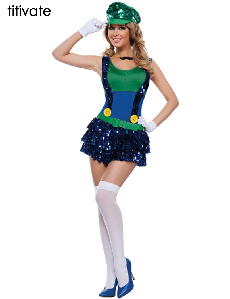 TITIVATE Adult Super Mario Costumes Women Luigi Clothing Sexy Plumber Costume Super Mario Bros Costumes For Halloween-in Holidays Costumes from Novelty ...  sc 1 st  AliExpress.com & TITIVATE Adult Super Mario Costumes Women Luigi Clothing Sexy ...