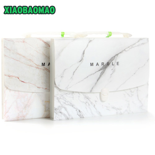 Marble A4 13 Layered expanding wallet big capacity filing bag document file folder Multi-function business office supplies bags mini expanding wallet invoice bill filing bag 12 layers document file folder elastic band plastic material