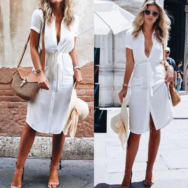 47cf7e94e3ec € 8.41 |Aliexpress.com: Comprar Nueva moda mujer ropa blanca de manga corta  verano fiesta Casual vestido playa señoras ropa de clothing fashion ...