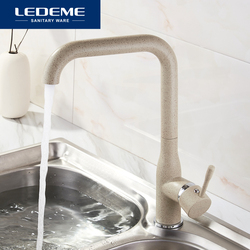 LEDEME New Kitchen Faucet Surface Finishing Brass Black Spray Paint Colorful Brass Main Material Kitchens Faucets Single Handle