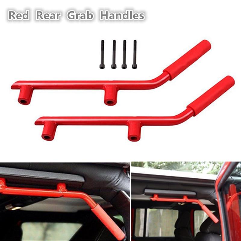 2Pcs Car Rear Grab Bar Grab Handle Kit for Jeep for Wrangler JK 2007 2016 Back Grab Handles